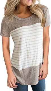 Vemvan Womens Summer Short Sleeve Round Neck T Shirts Color Block Striped Causal Blouses Tops