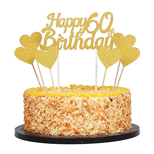 QIYNAO Gold Glittery Happy Birthday Cake Toppers And Love Star Smash Party Decorations