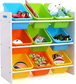 Homfa Toddler's Toy Storage Organizer with 9 Multiple Color Plastic Bins Shelf Drawer for Kid's Bedroom Playroom, White Rack
