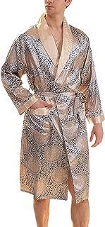 Dressing Gown Mens Long Summer Long Sleeve V Neck Comfortable Sizes Printed Bathrobe Men Fashion Loose Leisure Comfortable...