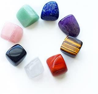 癒しのヒーリングストーン8点セット、天然石ローズクォーツやタイガーアイ、ピンクアメジスト(紫水晶) など8種類の天然水晶 パワーストーンから構成、7つのチャクラストーンとしても最適