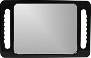 Large Hand Mirror with Double Handle - Rectangular Hand Held Mirror with Handle - Hair Salon Equipment Hairstylist and Barber Accessories (Black)