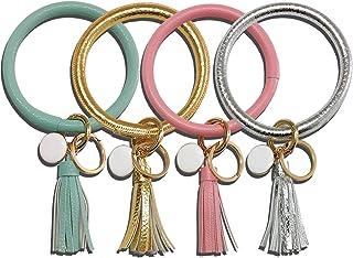 Lomodo 4 PCS Wristlet Keychain Bracelet Bangle Key Ring Leather Tassel Key Chain for Women Girls