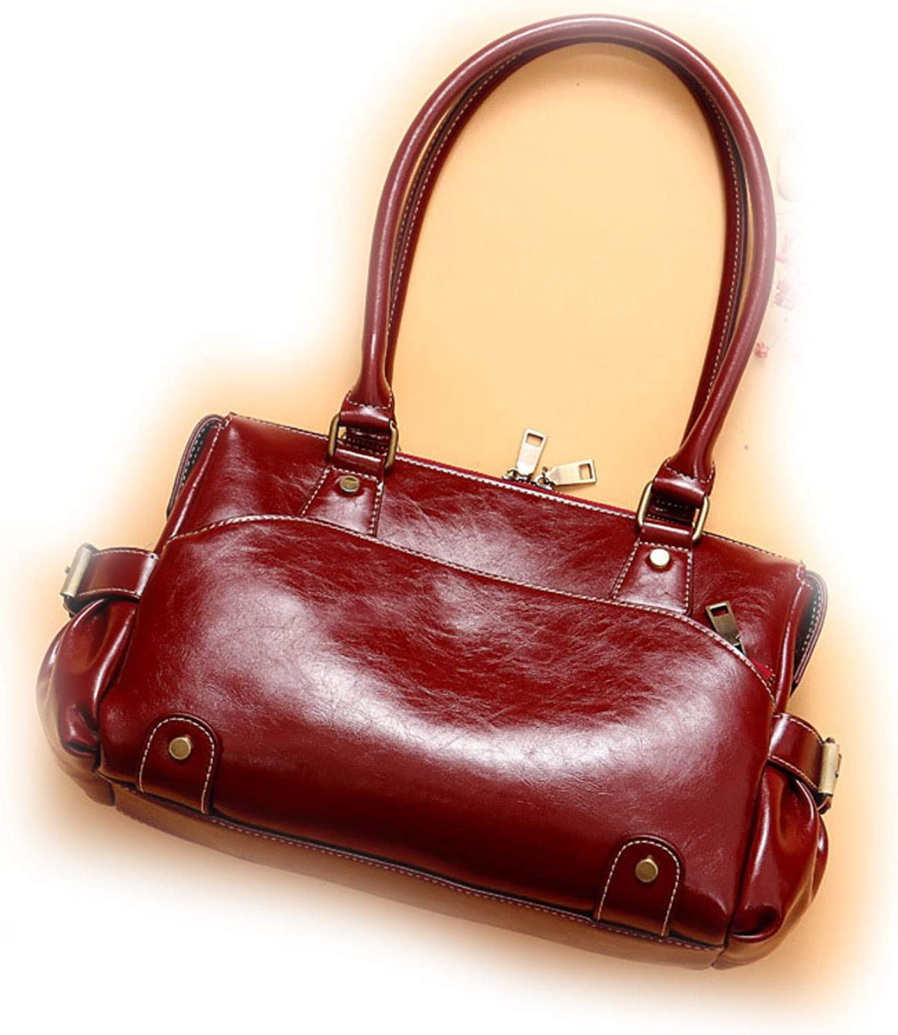 Genuine Leather Shoulder Bags For Women Oil Wax Leather Large Tote