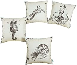 CaliTime Set of 4 Soft Canvas Throw Pillow Covers Cases for Couch Sofa Home Decoration 18 X 18 Inches Vintage Explore Sailing Nautical Turtle Seahorse Inkfish Nautilus