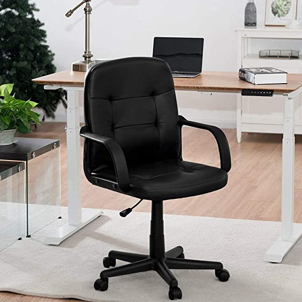 KOVALENTHOR Office Computer Desk Chair Swivel Chair With Armrests Ergonomic Mid Back Executive Chair Black
