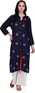 Pret A Porter Royal Blue Colored Rayon Designer Kurti With Palazzo Pants (Stitched)