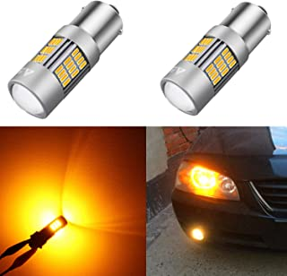 Alla Lighting 54-SMD 1156 7506 BA15S Newest Version High Power 4014 Chipsets Amber Yellow Xtremely Super Bright Turn Signal Blinker Light LED Bulbs Replacement