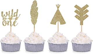 Giuffi 24 CT Tribal Boho Cupcake Toppers Wild One Arrow Feather Teepee First Birthday Party Decors (Gold)