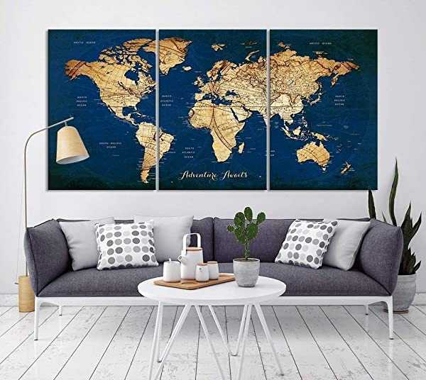 Vintage World Map Canvas Print For Home Decoration And Living Room Decor Extra Large Navy Blue World Map Push Pin Wall Art For Office Interior And Decor Ready To Hang