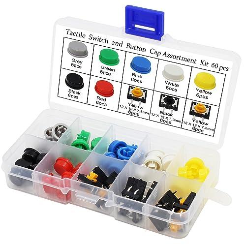 Aussel 60 Piezas Táctil Botón Interruptor Tapón 12x12x7.3mm Micro Momentary Tact llave de tapones