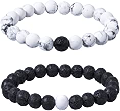 Bassion 2 Pcs Distance Relationship Bracelets Black Matte Agate & White Howlite Beads His and Hers Couple Bracelet