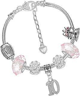 /Él/égant 17cm en cuir rose Bracelet /à coeur en argent avec bo/îte-cadeau et l/âge 7-12 ans