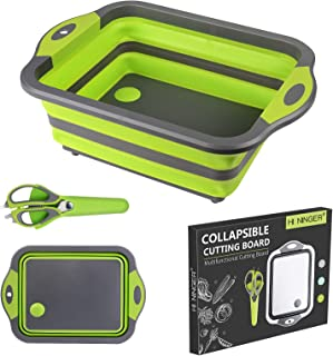 Collapsible Cutting Board,HI NINGER Portable Camping Kitchen Sink with Multifunction Kitchen Scissors- Foldable Washing Basket Silicone Dish Tub for BBQ Prep/Picnic/Camping-Green