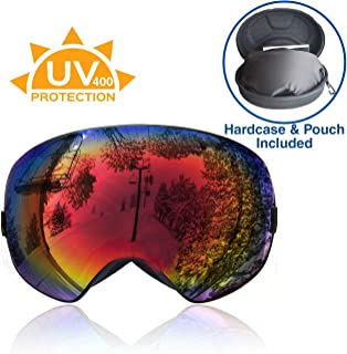Clevr Xspec Snow Snowboard Ski Performance Goggles UV400 with Hard case, with Detachable Lens