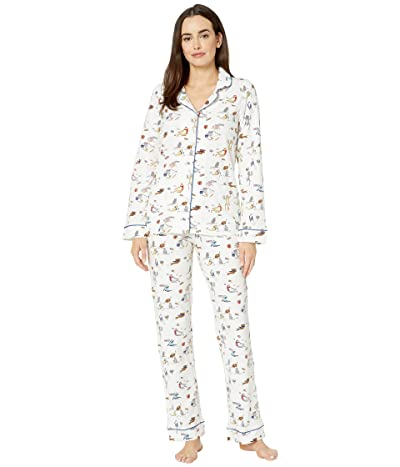 BedHead Pajamas Long Sleeve Classic Notch Collar Pajama Set (Meowzel Tov) Women