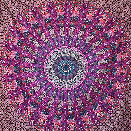 momomus Tapiz Mandala Indio - 100% Algodón, Grande, Multiuso - Colcha / Foulard / Tela Ideal como Cubre Sofá o Cubrecamas - Lila B, 210x230 cm