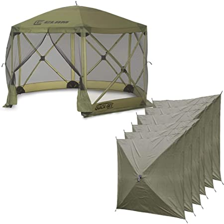 Quick-Set Clam Escape 12x12 ft. Portable Camping Outdoor Gazebo Canopy Shelter with Carrying Bag and 6 Wind Panels