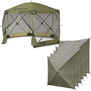 QUICK-SET Clam Escape Portable Camping Outdoor Canopy Screen & 6 Wind Panels
