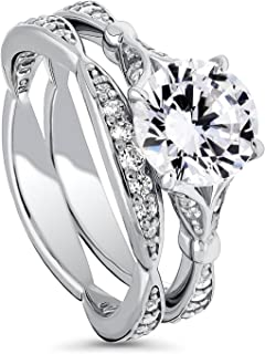 Rhodium Plated Sterling Silver Round Cubic Zirconia CZ Solitaire Engagement Wedding Ring Set 2.55 CTW