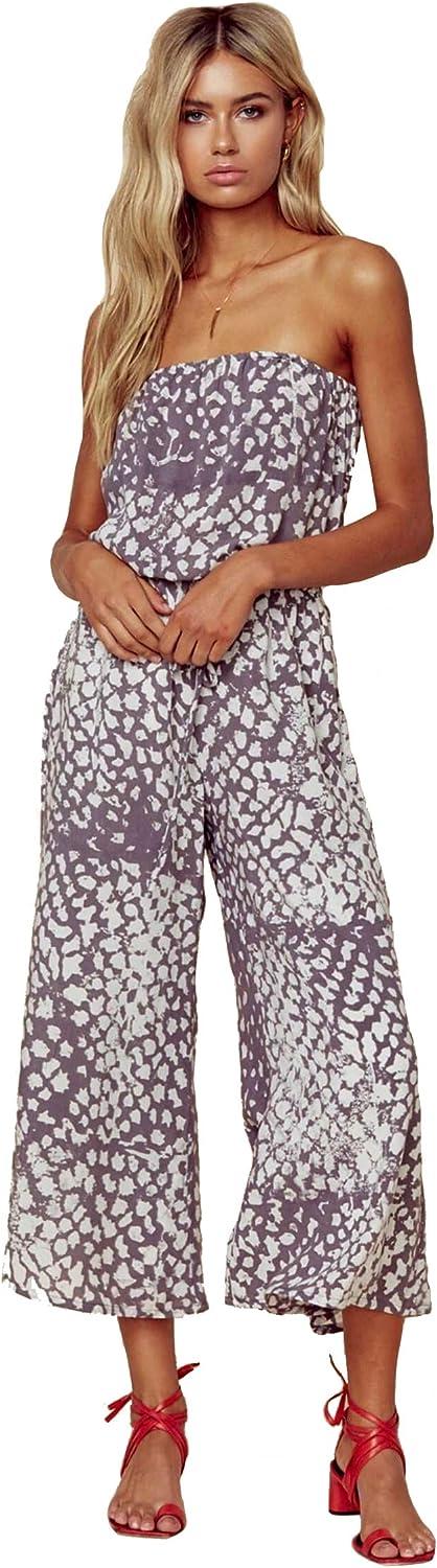 bluee Life Bell Strapless Jumper Leopard Grey Wide Leg Crop Pants