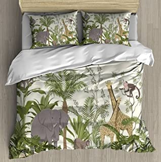 Soft Printed Bedding Set Jungle animal wallpaper with tropical vegetation and giraffes elephant Duvet Cover Pillow Case Pa...