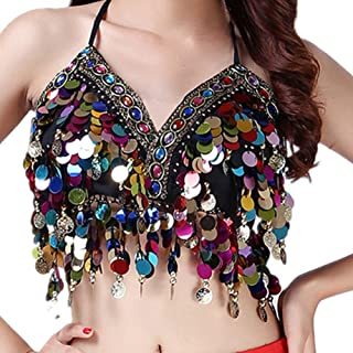 Sequin Halter Bra Top Salsa Belly Dance Boho Festival Clubbing Tribal Bra BH Top