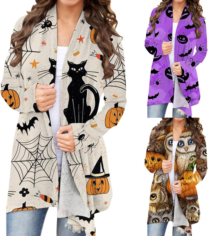 AIHOU Halloween Clothes for Women Pumpkin Face Black Cats Skeleton Cute Print Cardigan for Women Long Sleeve Coat Blouses