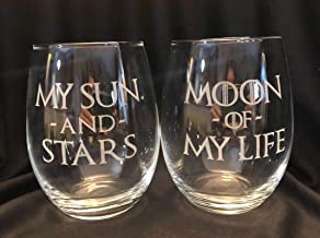 Set of Two My Sun And Stars Moon of My Life WINE Stemless Glass Laser Engraved 21 oz Vino Game of Thrones Inspired Dothraki Daenerys Drogo
