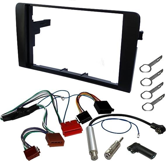 AERZETIX - Kit de montaje de Radio de Coche estándar - 2DIN - Marco, Cable enchufe, Adaptador de antena, Llaves extraccion para autoradio, ...