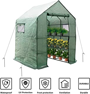 Large Portable Walk-in Plant Greenhouse with PE Cover, 2 Tiers 8 Shelves Waterproof Gardening Steeple Greenhouse, Window Version and Roll-Up Zipper Door (56