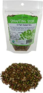 4 Oz - Handy Pantry 5 Part Salad Sprout Mix - Organic Non-GMO Mixed Seeds - Organic Broccoli Sprouting Seeds, Radish Sprout Seeds, Alfalfa Sprout Seeds, Lentil Seeds, and Mung Bean Seeds for Sprouting