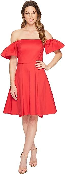 Halston Heritage Off Shoulder Flounce Sleeve Dress
