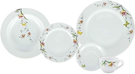 Serviço de Jantar e Chá, Porcelana Schmidt Multicor, Voyage Decoração Carmem pacote de 30