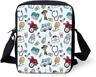 HUGS IDEA Niedliche Umhängetasche aus Segeltuch, für Handy, Krankenschwester, blau, große Tasche
