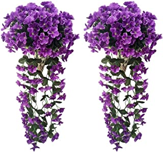AUKUZI Artificial Violet Ivy Flowers, 2PCS Silk Hanging Basket Lifelike Garland for Home Wedding Garden/Yard String Floral Decoration (Dark Purple)