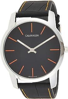 ساعة كوارتز للرجال من كالفن كلاين طراز K2G211C1، بشاشة عرض انالوج وسوار من الجلد - اسود
