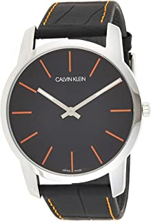Calvin Klein K2G211C1 Mens Quartz Watch, Analog Display and Leather Strap - Black
