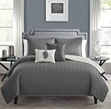 VCNY 5 Piece Hayden Quilt Set, King, Charcoal/Vanilla Ice