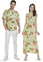 Made in Hawaii Couple Matching Luau Aloha Shirt Maxi Smock Dress in Orchid and Hibiscus
