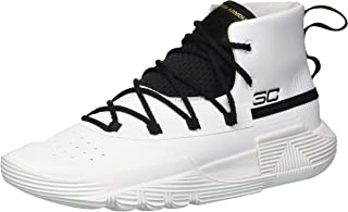 Under Armour Boys' Grade School SC 3Zer0 II Basketball Shoe, White (100)/Black, 5.5
