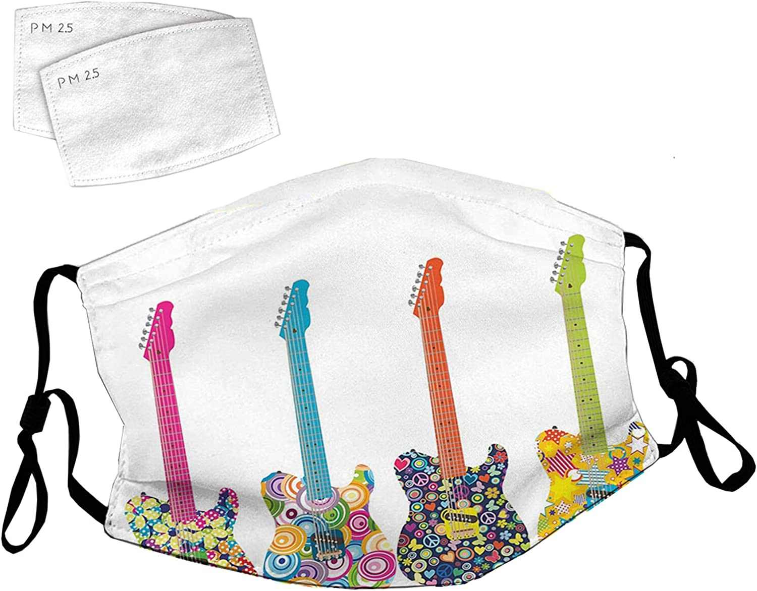 5 popular Reusable Face Mask with Adjustable Guitars Ear online shopping De Electric Loops