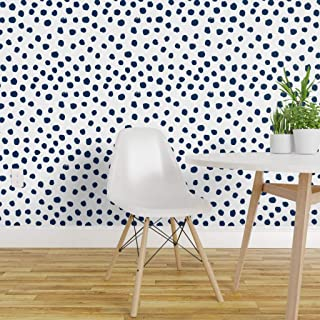 Spoonflower Peel and Stick Removable Wallpaper, Polka Dot Blue Spots Abstract Navy On White Minimalist Classic Print, Self-Adhesive Wallpaper 24in x 108in Roll