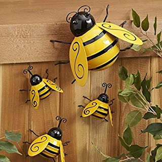 4 Packs Metal Bumble Bee Decorations, 3D Garden Yard Sculpture Ornaments, Lakeside Collection Lawn Bar Bedroom Living Room...