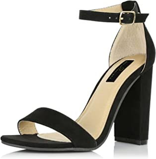 Women's Fashion Chunky Heel Sandal Open Toe Wedding Pumps with Buckle Ankle Strap Party Evening Shoes