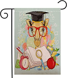 Custom Double Sided Seasonal Garden Flag Graduation Decor Hipster Giraffe Animal with Glasses and Cap Geek Student Education Welcome House Flag for Patio Lawn Outdoor Home Decor, Linen 12 x 18 inch