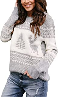 Sponsored Ad - Sidefeel Women Knited Holiday Pullover Christmas Cute Reindeer Sweater