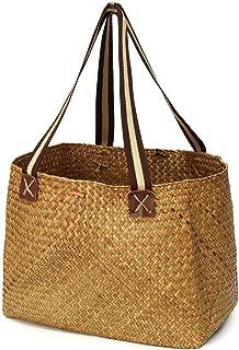 Straw Bag Womens Classic Straw Summer Beach Handbag with Handle for Shopping Picnic 38x30x32cm