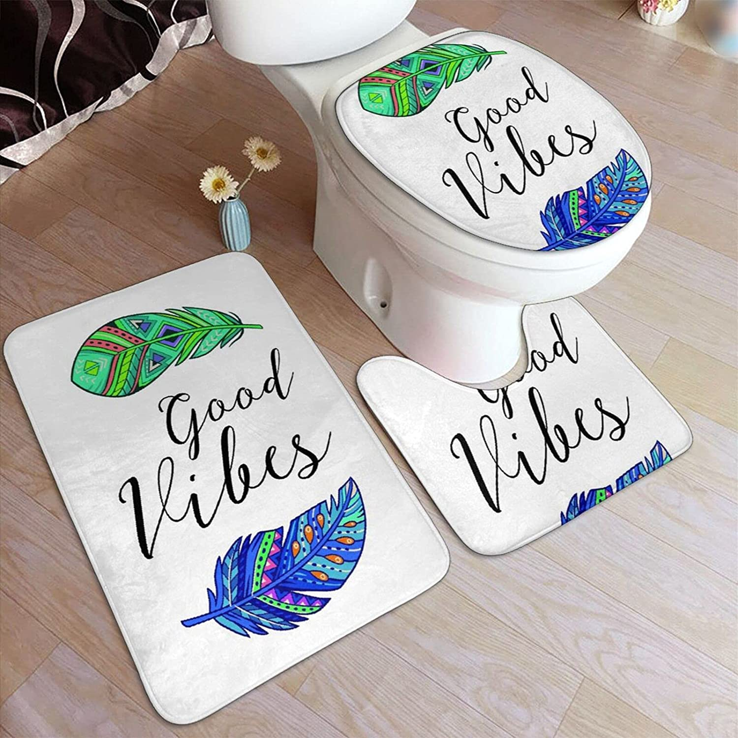 3 Regular dealer Piece Bathroom Rugs Set Good wit In a popularity Feathers Art Vibes Boho Style