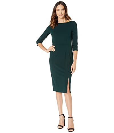 Donna Morgan Boat Neck 3/4 Sleeve Side Slit Crepe Dress (Viridian Green) Women